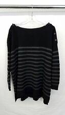 Ralph Lauren Nautical Boat Neck Stripped Black/Gray Women's Cashmere Sweater 2X
