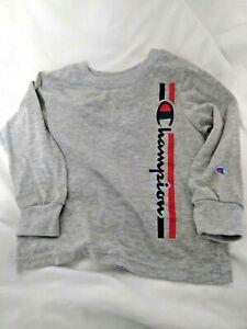 Toddler Shirt Champion 3T Longsleeve Athletic Shirt (Gray) Champion spellout Boy