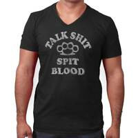 Tough Talk S*** Spit Blood Brass Knuckles V-Neck Tee Shirts T-Shirt For Mens