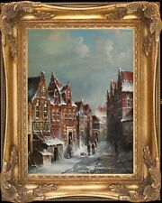 Old Dutch Town In Winter~Original Oil Painting+Wood Frame