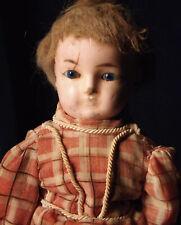 16.5� Antique Wax Over Papier Mache' Dome Head Doll Tlc Blue Glass Eyes Boots