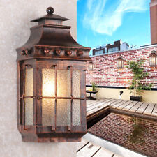 """Square 17"""" High Single-Light Wall Lamp Metal Glass Lantern Outdoor Wall Sconce"""
