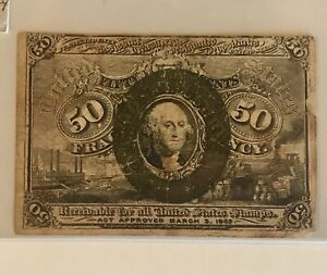 FRACTIONAL CURRENCY 50c  Fr-1321  RED BACK!   Very Fine!  RARE!  ON SALE! (57)