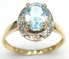 SYJEWELLERY 9CT YELLOW GOLD NATURAL BLUE TOPAZ & DIAMOND RING   SIZE N    R967