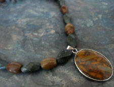 Welsh Slate , Leaf Jasper & Fossilised Wood Necklace Hand Made - Llechi Cymreig