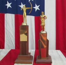 Vintage 1960s Archery Mid-Century Award Trophy Pair Archer Toppers Great Display