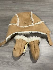 New Baby Gap Faux Fur Hat And Mittens Set Bear 6-12 Months A2