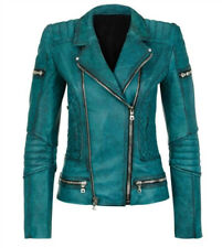 Slim Fit Diamond Quilted Moto Teal Leather Jacket - Best Price Offer