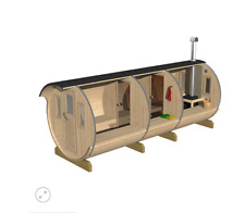 More details for 480cm outdoor garden barrel sauna with harvia electric / wood fired heater