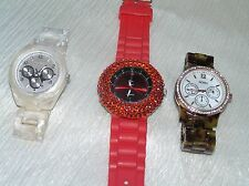 Used Lot of 3 Red White Faux Tortoise Shell Plastic w Rhinestones or Not Watches