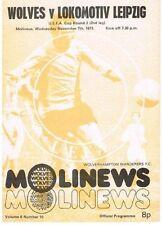 Programm vom UEFA - Cup Spiel Wolverhampton Wanders : 1.FC Lok Leipzig 1973