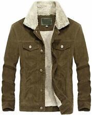 Men's Vintage Button-Front Slim Fit Corduroy Denim Jacket - Coffee Fleece / XS