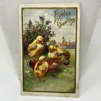 Vintage Easter Greetings Postcard Yellow Chicks Holiday Card Antique Early 1900s