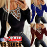 Women's Hollow Sequin Long Sleeve T-Shirt Tops Casual Round Neck Slim Fit Blouse