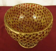 Bowl Vase Mosaic Mirror & Red Diamond Shaped Glass Pieces India 8 in dia.