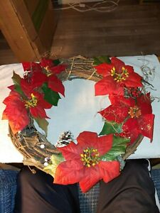 Hand Crafted Wreath, Grape Vine, with Red Poinsettias Christmas