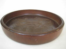 """Vintage Japanese Handcarved Castle Wooden Bowl Plate, 11"""" D X 2"""" Height (Rare)"""