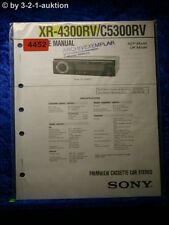 Sony Service Manual XR 4300RV /C5300RV Car Stereo (#4452)