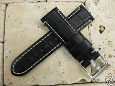24mm Black Extra Large Grain Leather Strap Watch Band PAM XL L 24
