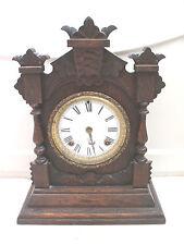 "Ansonia American Carved Oak Case Striking Mantle Clock c1900 15""H 11""W 5""D"