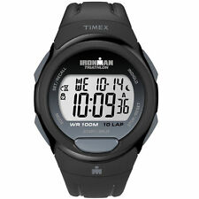 Timex T5K608, Men's 10-Lap Ironman Black Resin Watch, Alarm, Indiglo, T5K6089J