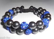 New Shamballa Blue Czech Crystal and Black Hematite Double Row Bracelet - Bangle