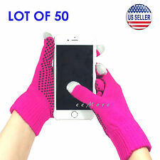 Wholesale Lot of 50 Touch Screen Gloves Smartphone Tablet Pad US Stock (PINK)
