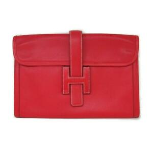 Authentic HERMES Jige clutch second bag Swift leather Rouge vif Used C 1999