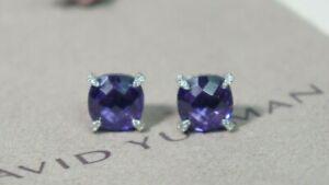David Yurman 925 Silver 585 9mm Purple Amethyst Diamond Chatelaine Earrings