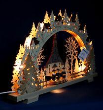 3D-Schwibbogen Seiffener Kirche 52x32cm Erzgebirge Lichterbogen Holz Seiffen Neu