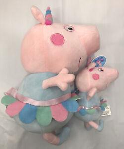 "Peppa Pig 13.5"" + 6.5"" Set Of 2 Plush Unicorn Licensed Stuffed Animal Toy"