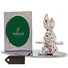 Silver Plated Picture Frame with Crystal Decorated Cartoon Bunny by Matashi