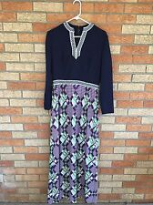 Vtg Dress Womens Small M Maxi 60s Mod Vlv Geometric V Neck Hippie Boho Navy 70s