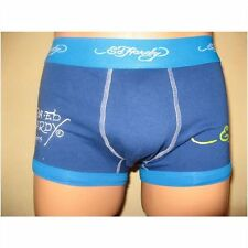 NEW ED HARDY BLUE BASIC SCRIPT LOW RISE FITTED BOXERS HIPSTERS SMALL 28/32 WAIST
