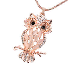 ELEGANT OPAL OWL AND ROSE GOLD PLATED PENDANT NECKLACE