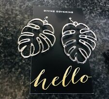 (Australia Stock)Big Silver Plated Modern Simple Palm Tree Leave Dangle Earrings