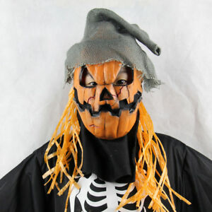Scary Scarecrow Pumpkin Skull Latex Mask Hats Halloween Party Cosplay Costume