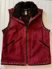Koos Of Course Red Suede Vest Large L Reversible Mixed Floral Faux Fur Full Zip