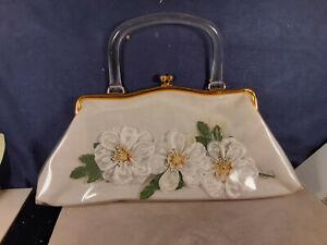 Retro Vintage 1960s Flowers Encased in Plastic Purse Clear Plastic Handle