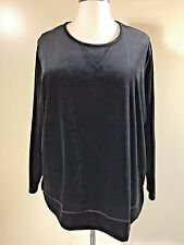 WOMAN WITHIN Plus Size 3X Black Velour Stretch Sweatshirt Tunic Shirt Pullover