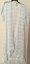 NWT Victorias Secret Swim WHITE Long Cover-Up Kimono Beach Robe Crochet Fringe S