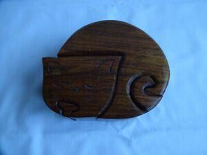 Vintage Handmade Cat Wooden Puzzle Trinket Box Secret Compartments 5 cm x 12.5cm