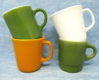 Vintage Milk Glass Mugs set of four Green Yellow White Fire King Corning USA