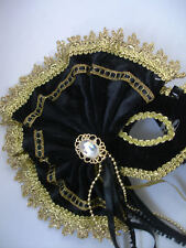 Black & Gold Masquerade Mask Velvet Mask with Side Fan Fancy Dress Masked Ball