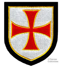 CHRISTIAN MILITARY SHIELD EMBROIDERED PATCH CRUCIFIX CROSS CRUSADE iron-on - RED