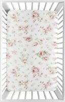 Baby Portable Mini Crib Sheet For Sweet Jojo Rileys Roses Bedding - Floral Print