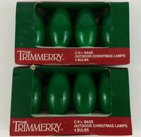 Two 4 Packs Of C9 Green Christmas Lights Glow Bright Bulbs Outdoor NOS Vintage