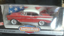 1:18 Ertl American Muscle '57 Chevy Bel Air Sport Coupe in Red and White