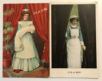 Lot of 2~IT'S A BOY & GIRL~Vintage Birth Announcement Baby Postcards-Nurses-p645