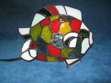 VTG Stained Glass Tiffany Style FISH TABLE LAMP, ACCENT/NIGHT LIGHT...Gorgeous!